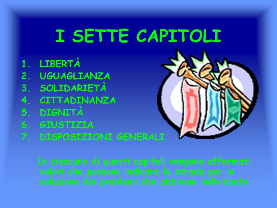 I SETTE CAPITOLI LIBERTÀ UGUAGLIANZA SOLIDARIETÀ CITTADINANZA DIGNITÀ