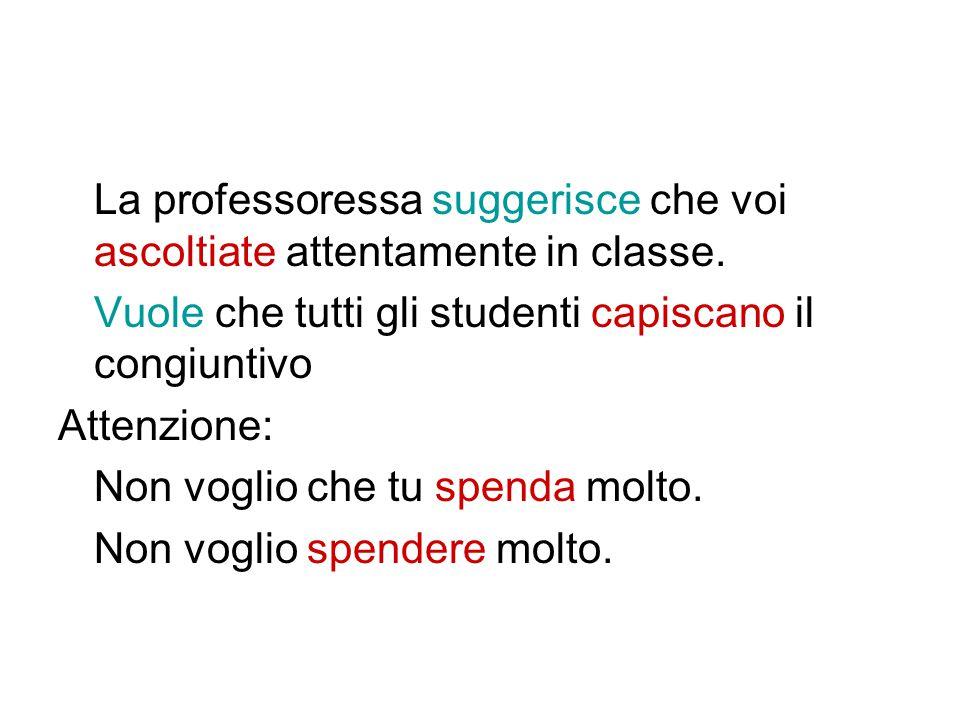 La professoressa suggerisce che voi ascoltiate attentamente in classe.