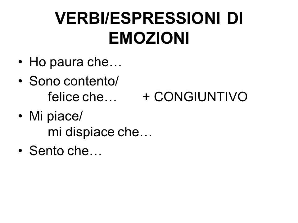 VERBI/ESPRESSIONI DI EMOZIONI