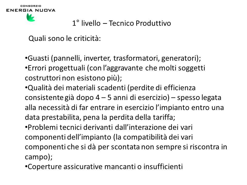 1° livello – Tecnico Produttivo