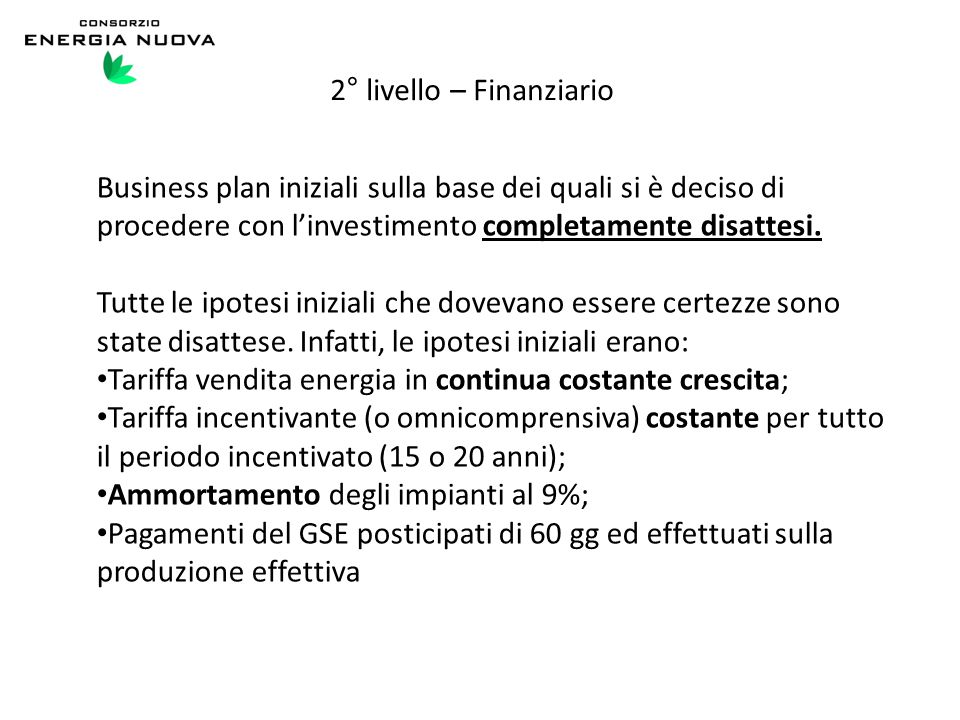 2° livello – Finanziario
