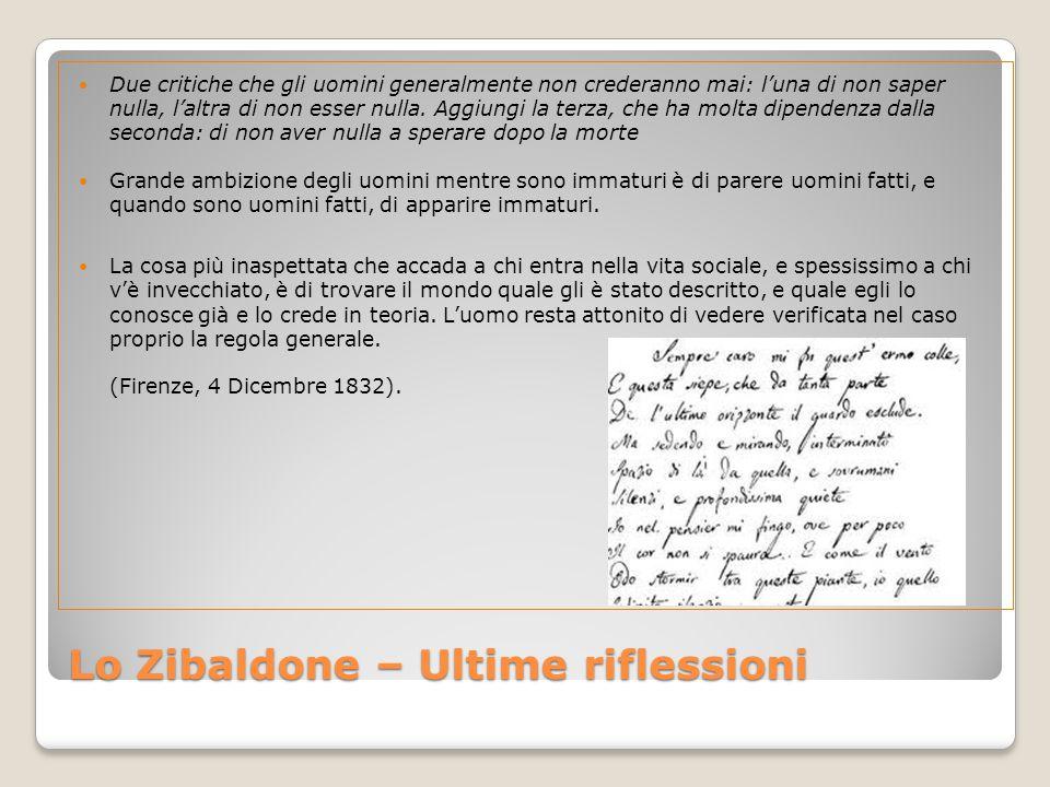 Lo Zibaldone – Ultime riflessioni