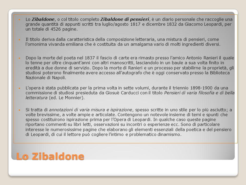 Lo Zibaldone, o col titolo completo Zibaldone di pensieri, è un diario personale che raccoglie una grande quantità di appunti scritti tra luglio/agosto 1817 e dicembre 1832 da Giacomo Leopardi, per un totale di 4526 pagine.