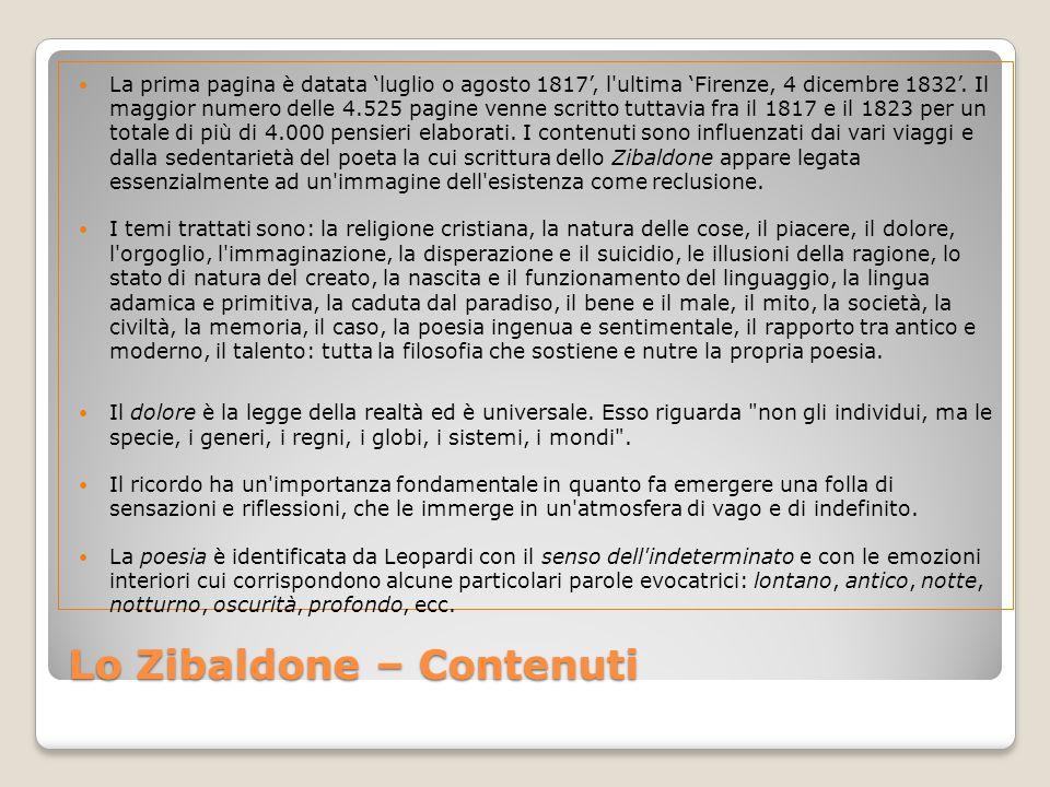Lo Zibaldone – Contenuti