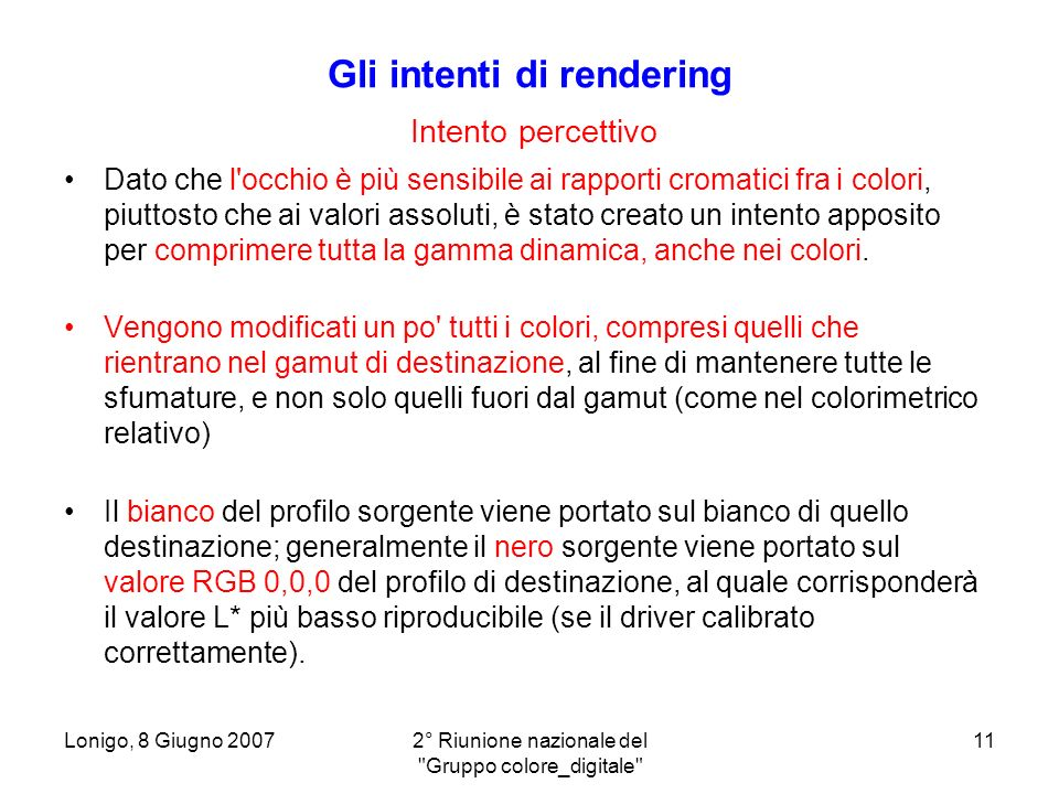 Gli intenti di rendering