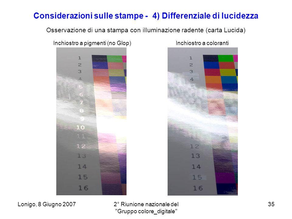 Considerazioni sulle stampe - 4) Differenziale di lucidezza