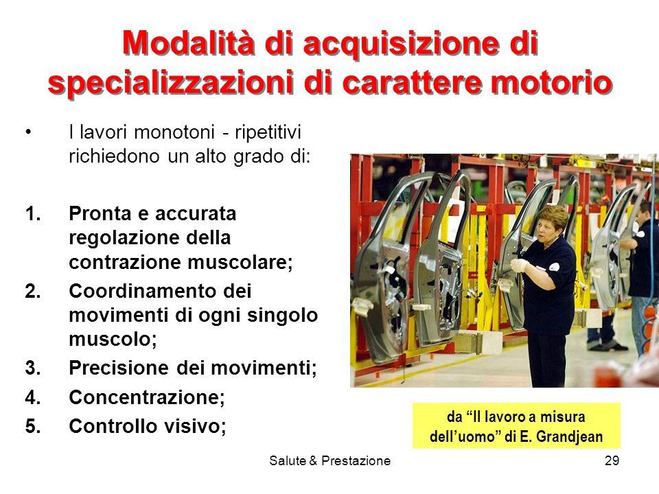 Modalità di acquisizione di specializzazioni di carattere motorio