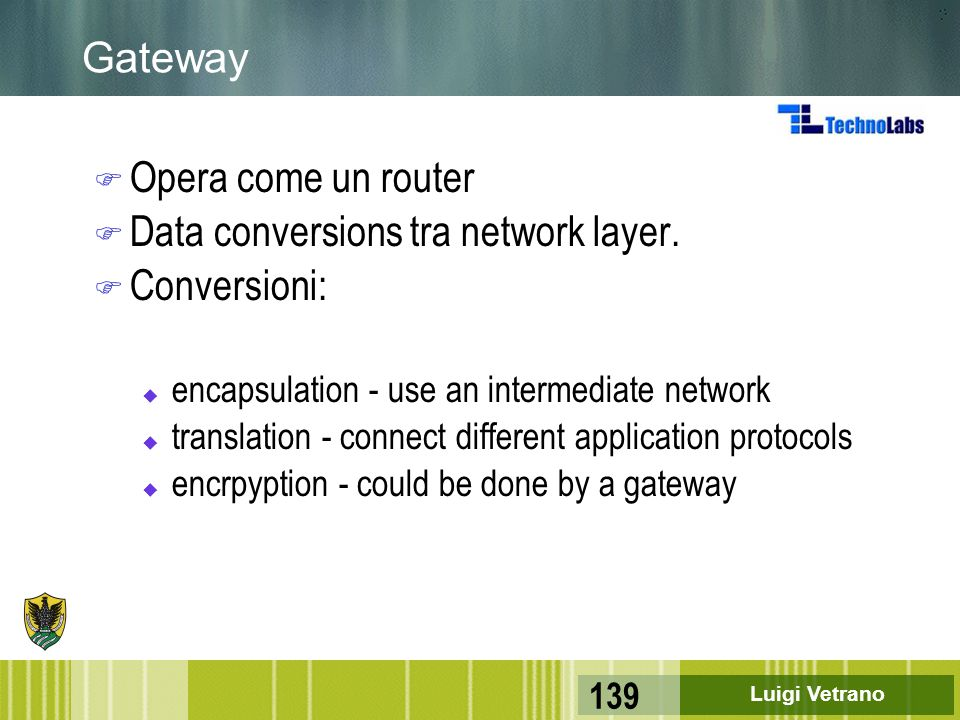 Data conversions tra network layer. Conversioni: