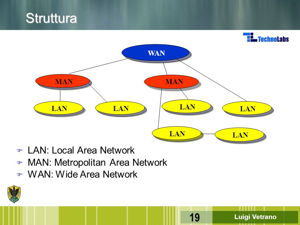 Struttura LAN: Local Area Network MAN: Metropolitan Area Network