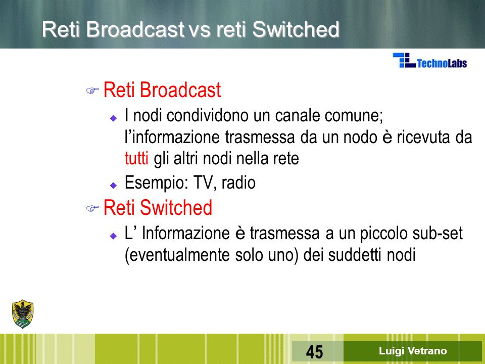 Reti Broadcast vs reti Switched