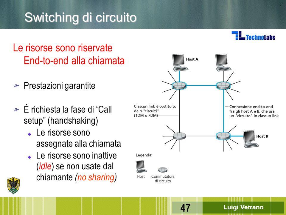 Switching di circuito Le risorse sono riservate End-to-end alla chiamata. Prestazioni garantite. É richiesta la fase di Call setup (handshaking)