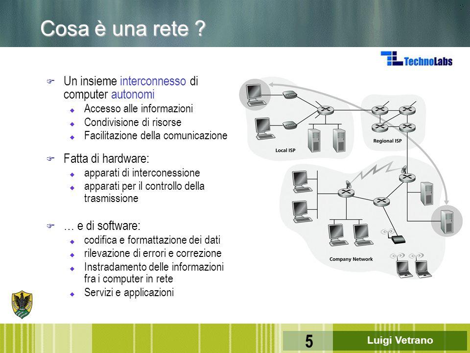 Cosa è una rete Un insieme interconnesso di computer autonomi