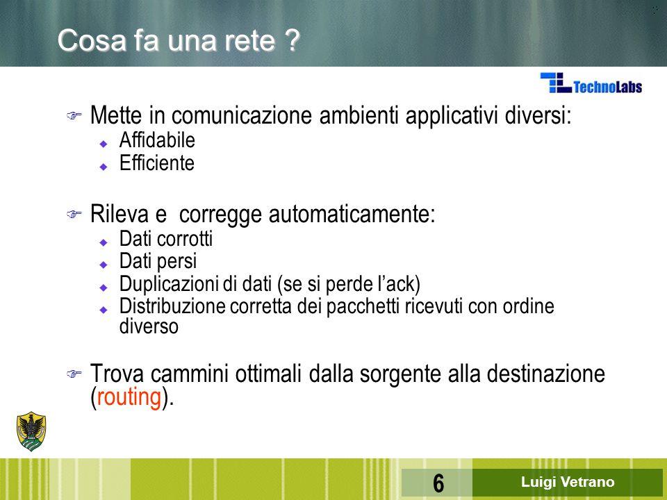 Cosa fa una rete Mette in comunicazione ambienti applicativi diversi: Affidabile. Efficiente. Rileva e corregge automaticamente:
