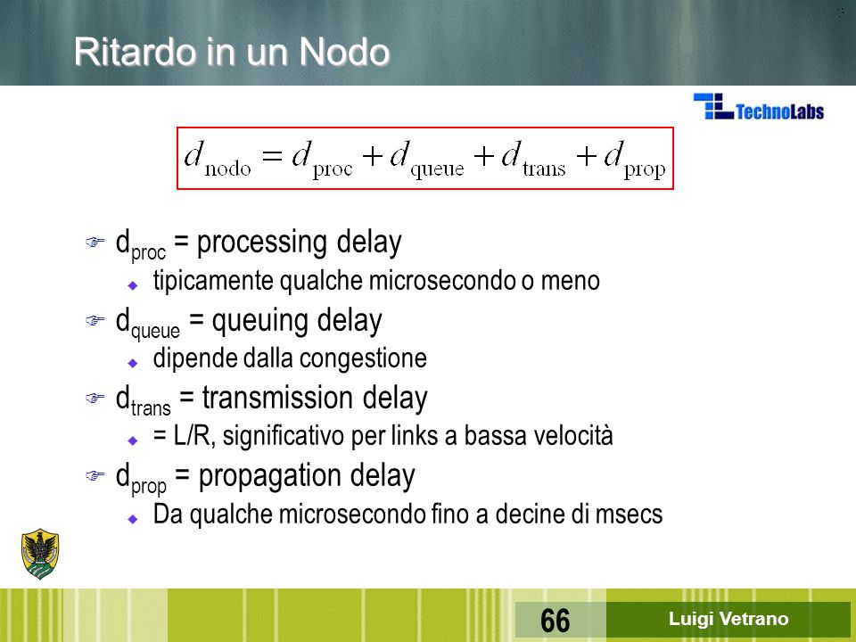 Ritardo in un Nodo dproc = processing delay dqueue = queuing delay