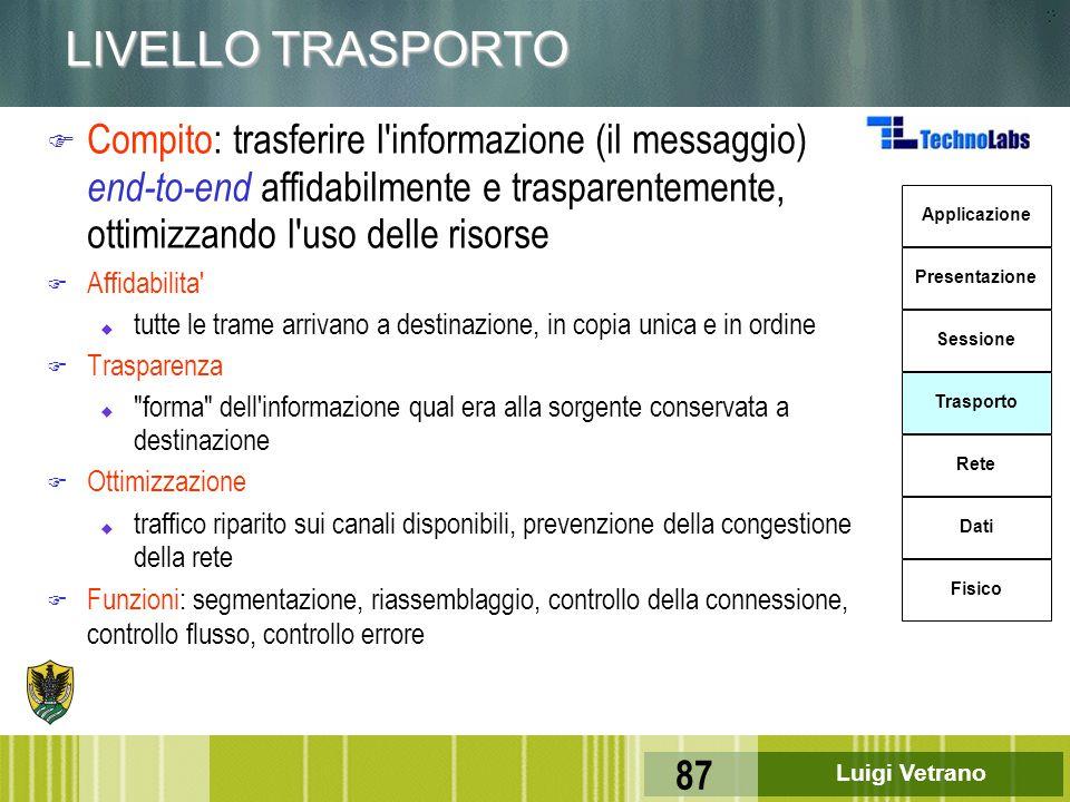 LIVELLO TRASPORTO Compito: trasferire l informazione (il messaggio) end-to-end affidabilmente e trasparentemente, ottimizzando l uso delle risorse.