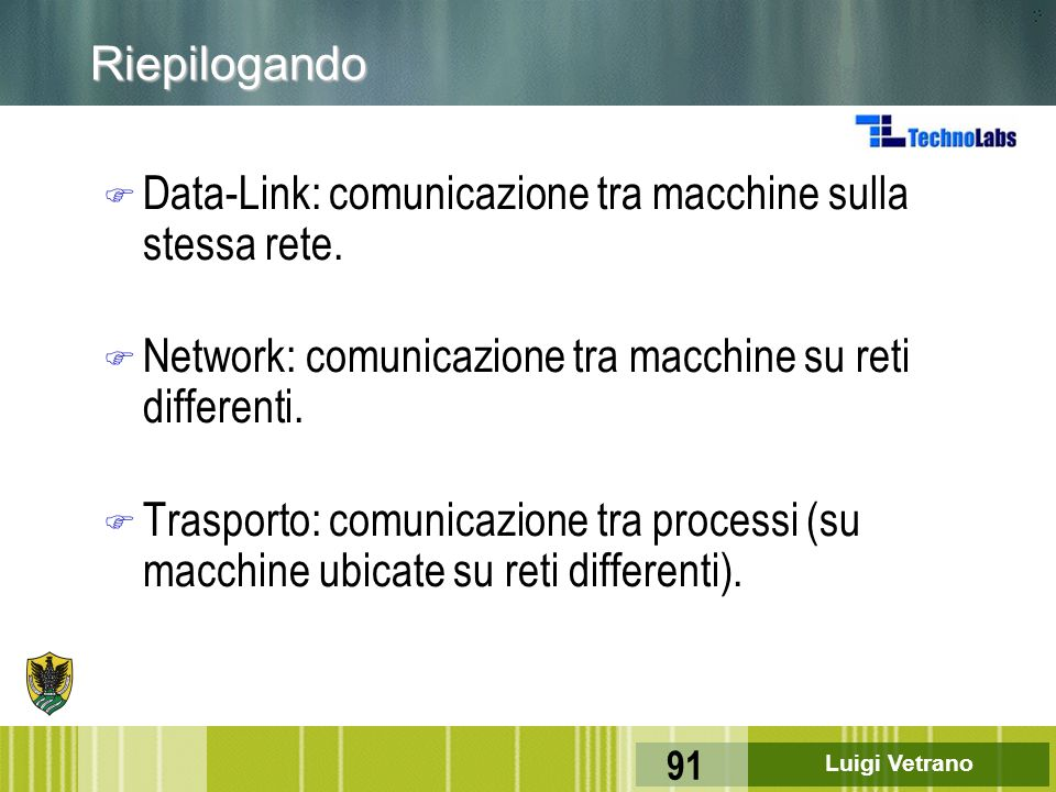 Riepilogando Data-Link: comunicazione tra macchine sulla stessa rete. Network: comunicazione tra macchine su reti differenti.