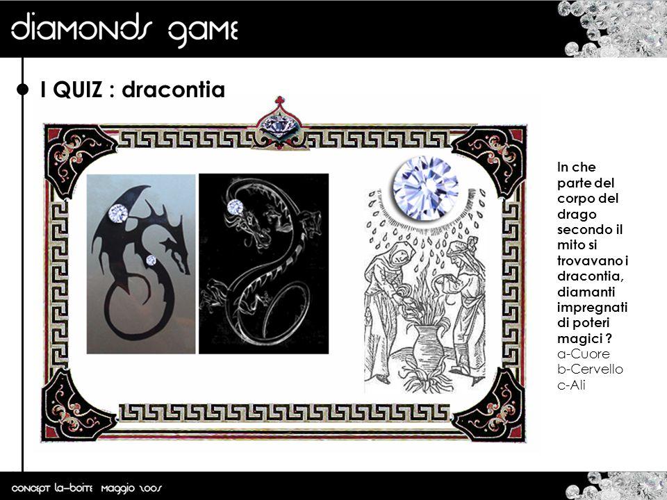 I QUIZ : dracontia In che parte del corpo del drago secondo il mito si trovavano i dracontia, diamanti impregnati di poteri magici