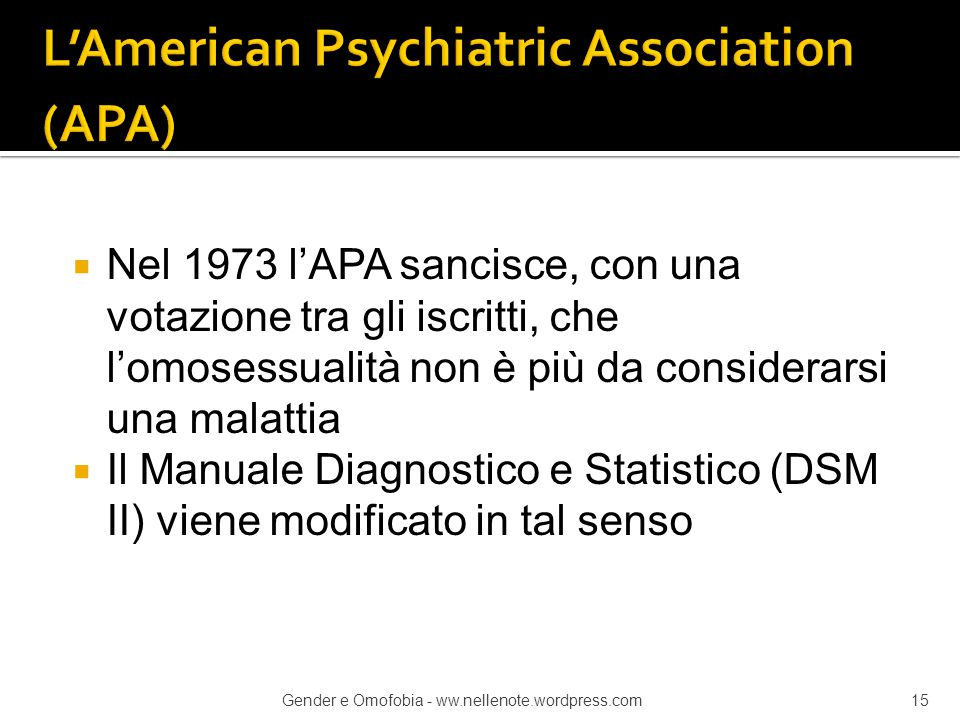 L'American Psychiatric Association (APA)