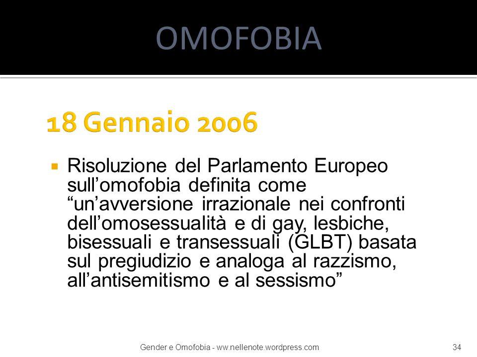 OMOFOBIA 18 Gennaio 2006.