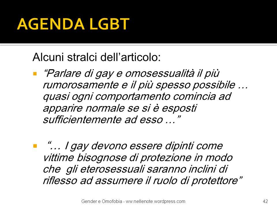 AGENDA LGBT Alcuni stralci dell'articolo: