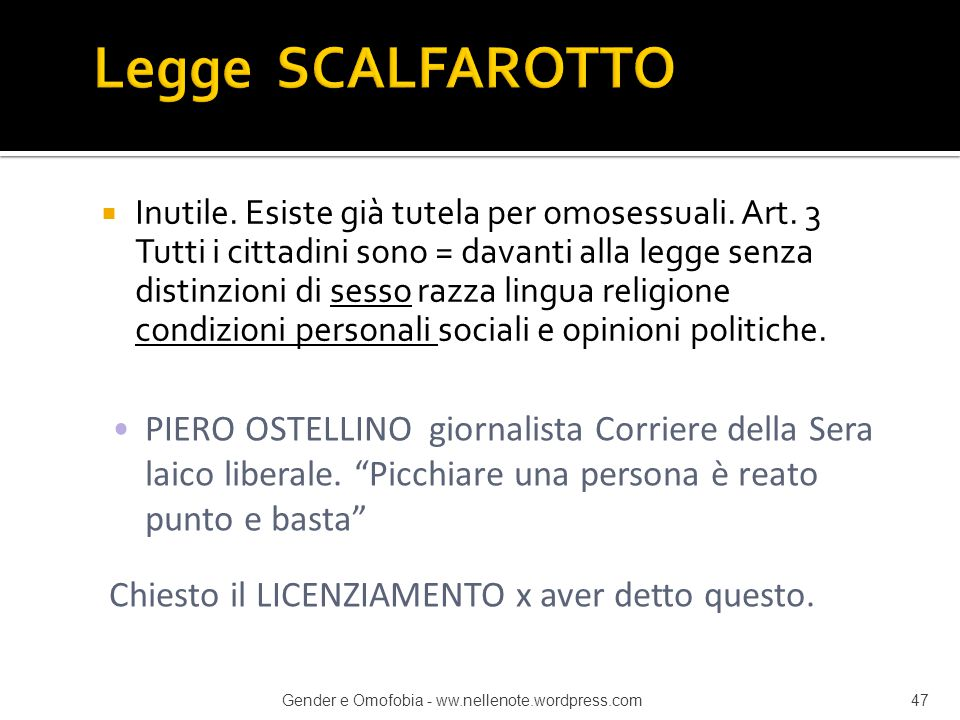 Legge SCALFAROTTO