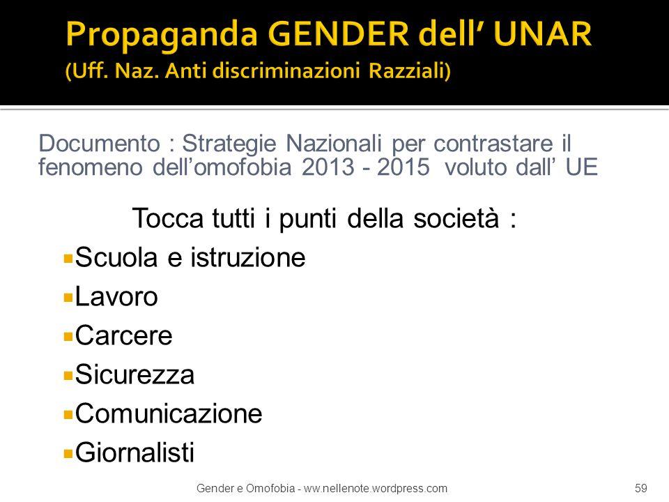 Propaganda GENDER dell' UNAR (Uff. Naz. Anti discriminazioni Razziali)