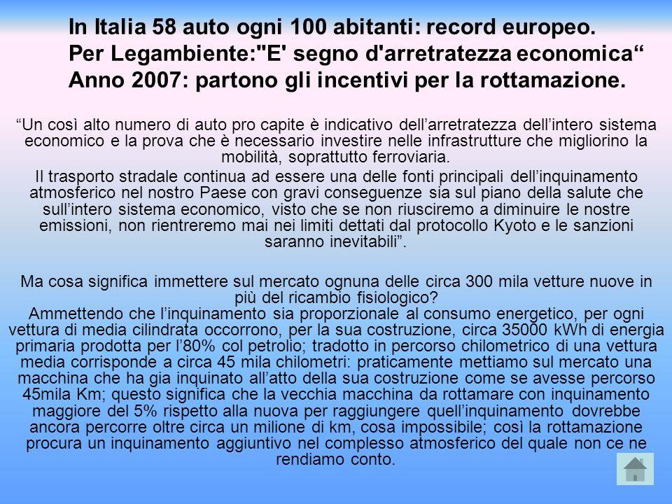 In Italia 58 auto ogni 100 abitanti: record europeo