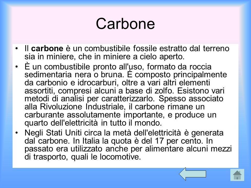 Carbone Il carbone è un combustibile fossile estratto dal terreno sia in miniere, che in miniere a cielo aperto.