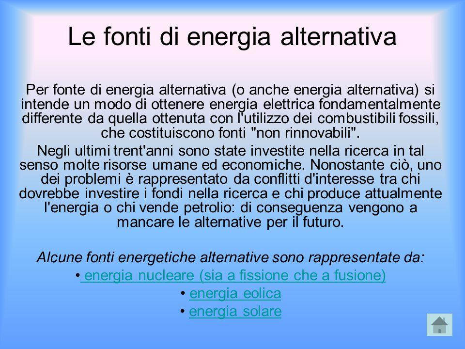 Le fonti di energia alternativa