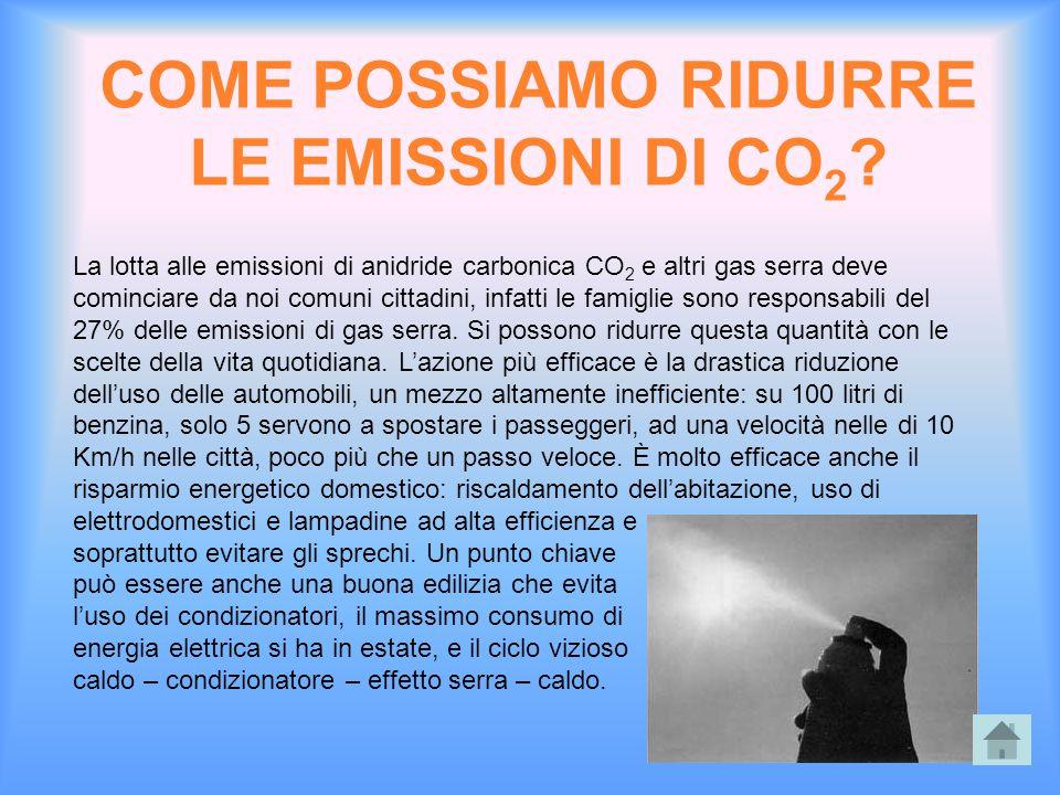 COME POSSIAMO RIDURRE LE EMISSIONI DI CO2