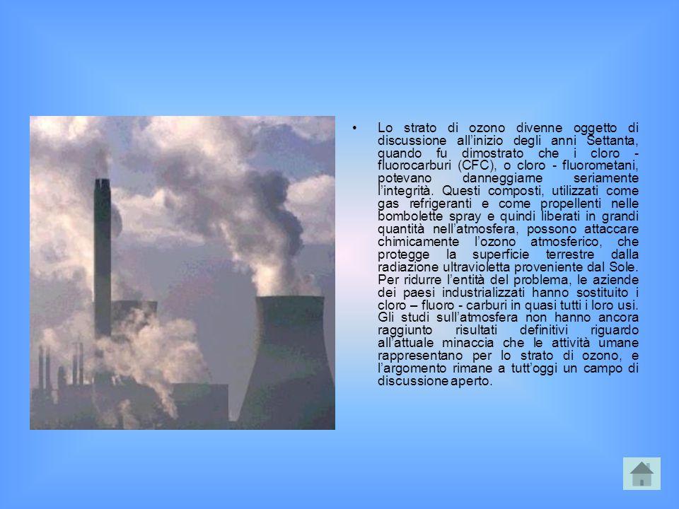 Lo strato di ozono divenne oggetto di discussione all'inizio degli anni Settanta, quando fu dimostrato che i cloro - fluorocarburi (CFC), o cloro - fluorometani, potevano danneggiarne seriamente l'integrità.