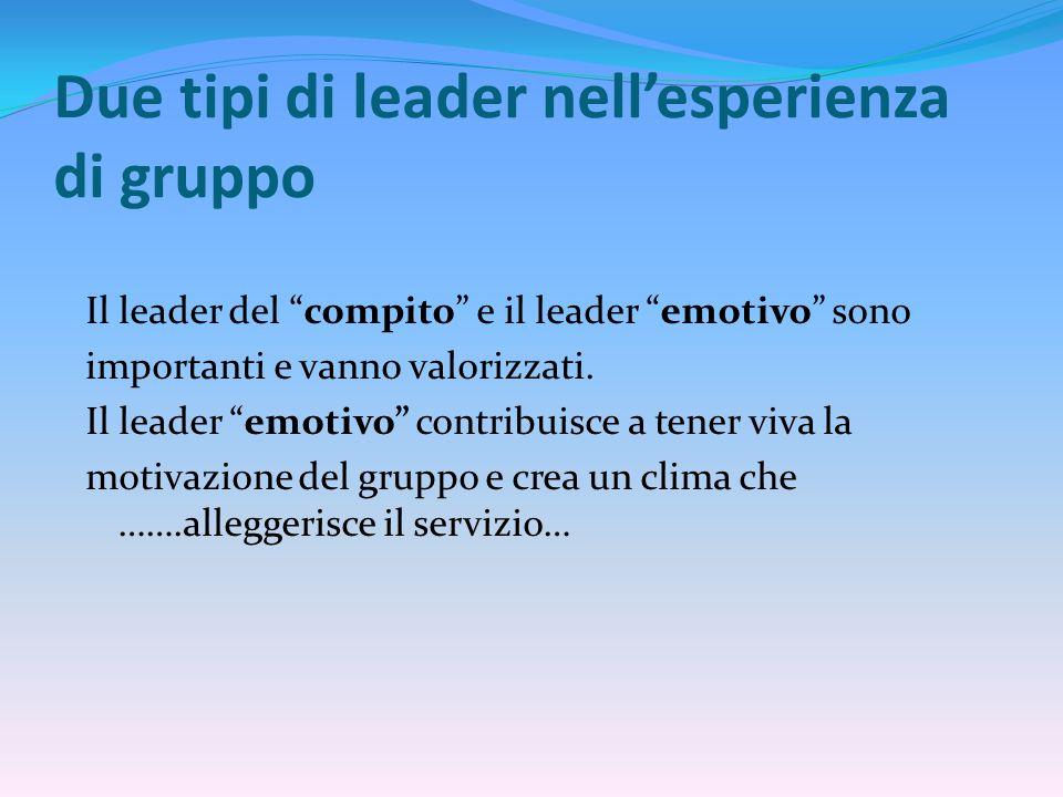 Due tipi di leader nell'esperienza di gruppo