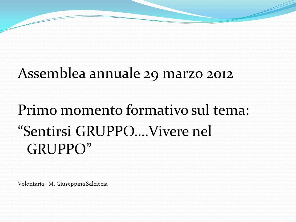Assemblea annuale 29 marzo 2012 Primo momento formativo sul tema: