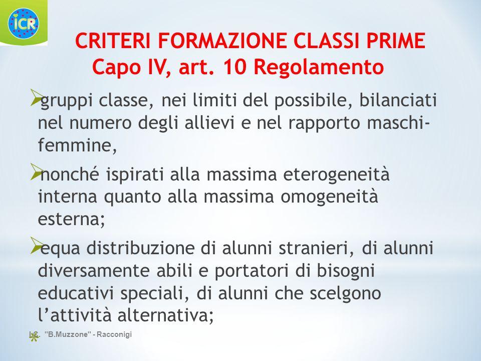 CRITERI FORMAZIONE CLASSI PRIME Capo IV, art. 10 Regolamento