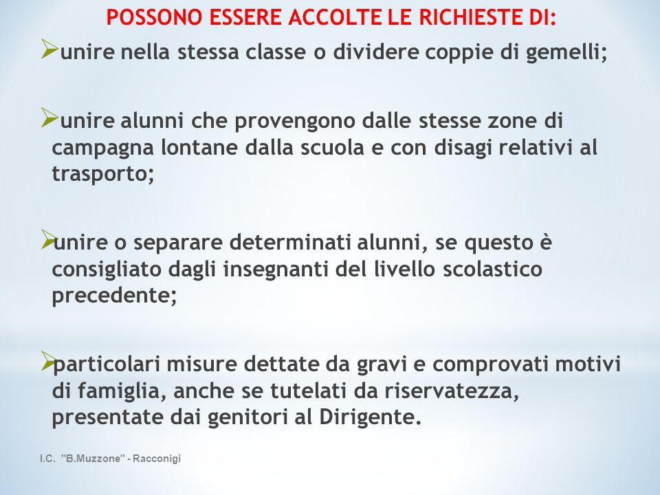 POSSONO ESSERE ACCOLTE LE RICHIESTE DI: