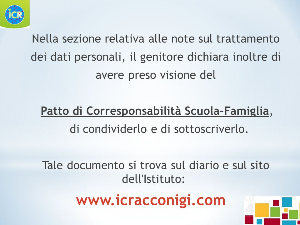 www.icracconigi.com Nella sezione relativa alle note sul trattamento