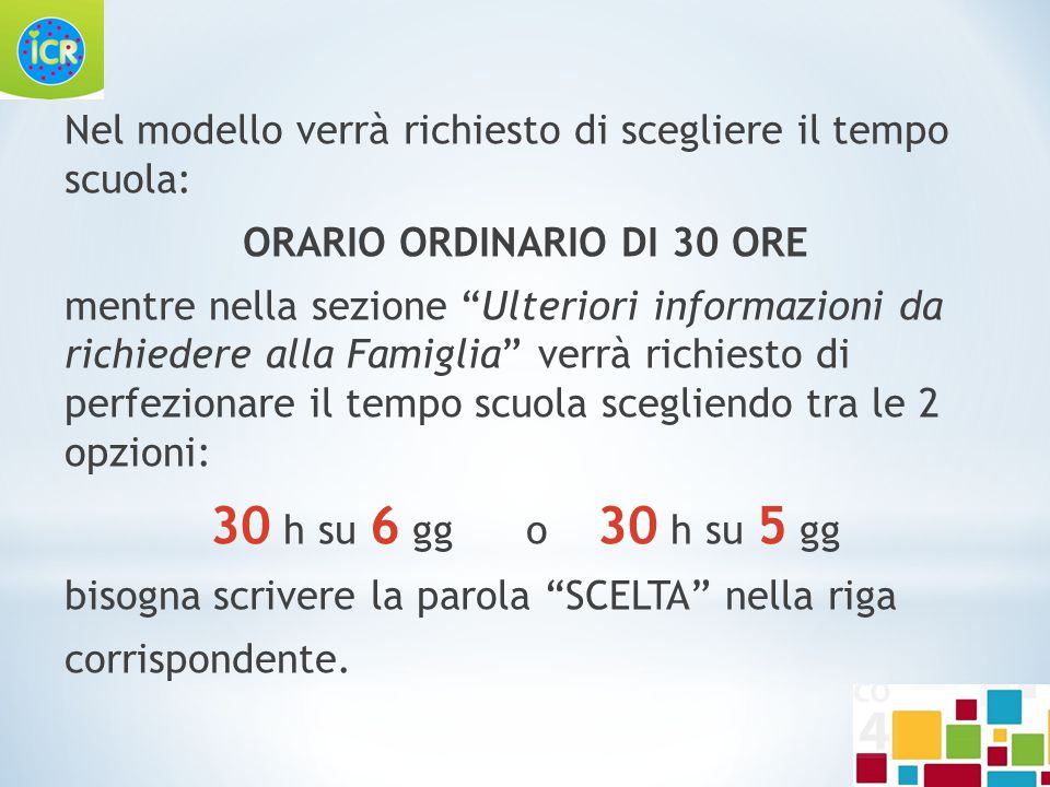 ORARIO ORDINARIO DI 30 ORE