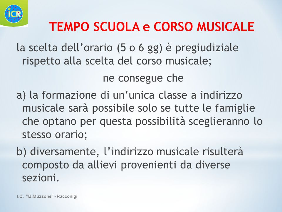 TEMPO SCUOLA e CORSO MUSICALE