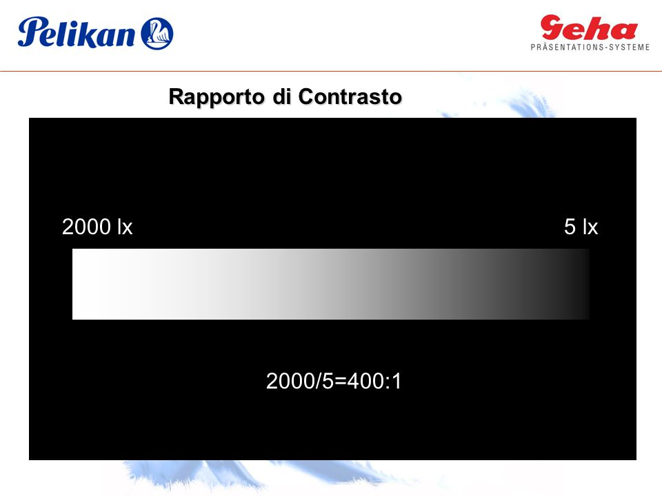 Rapporto di Contrasto 2000 lx 200 5 lx 2000/5=400:1