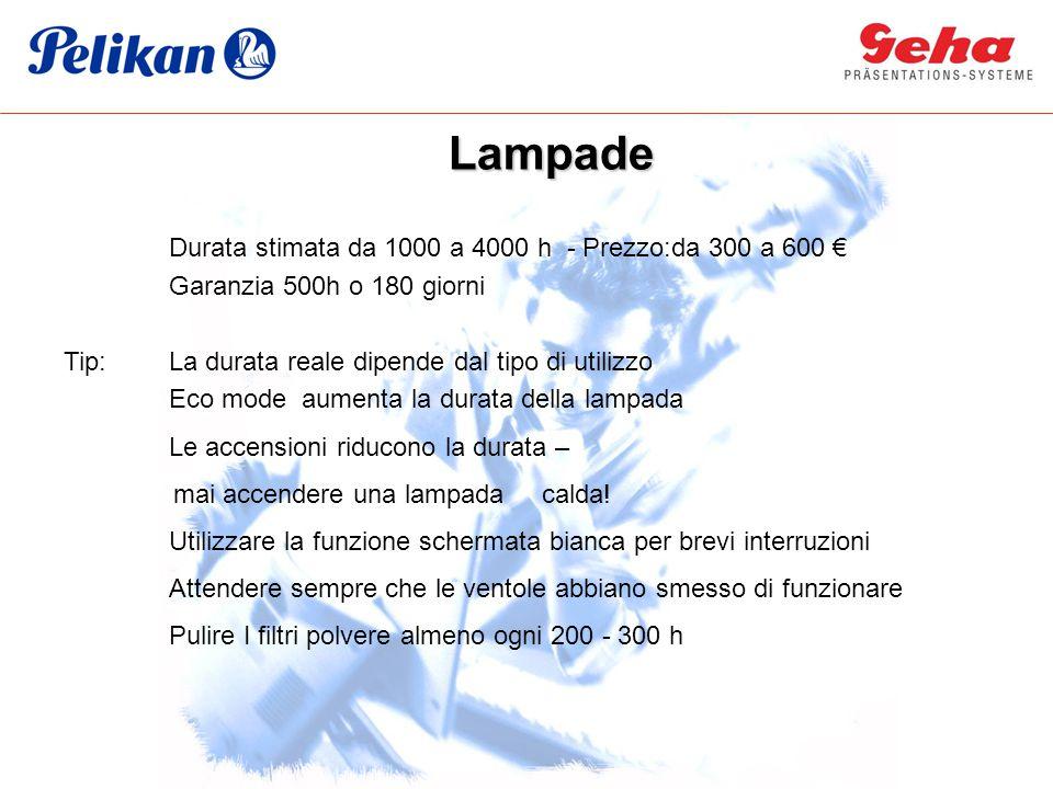 Lampade Durata stimata da 1000 a 4000 h - Prezzo:da 300 a 600 €