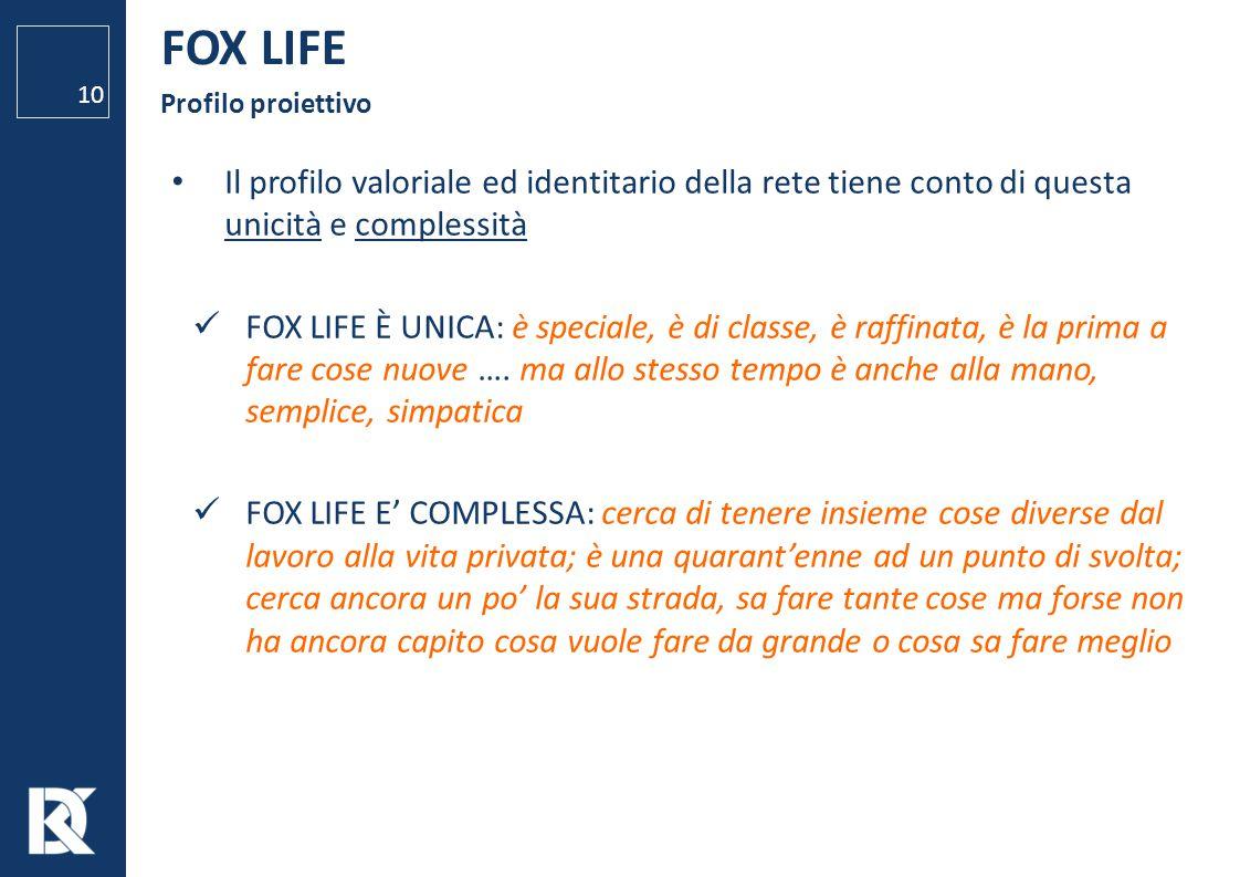 FOX LIFE Profilo proiettivo. Il profilo valoriale ed identitario della rete tiene conto di questa unicità e complessità.