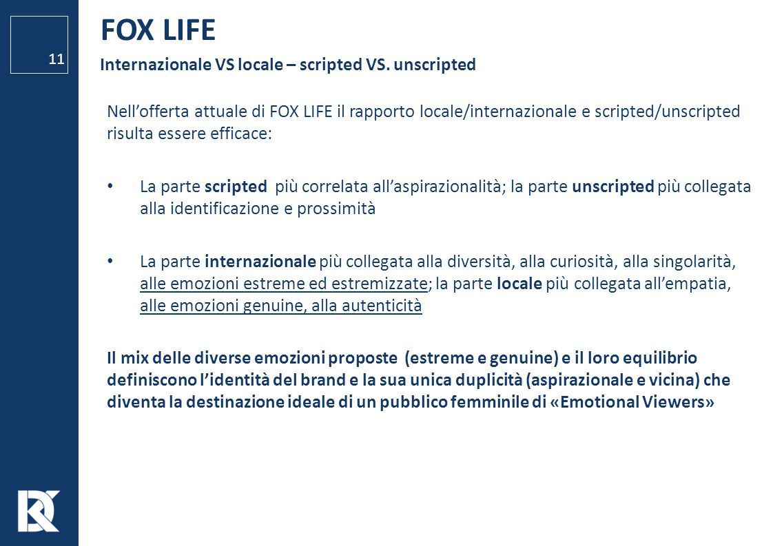 FOX LIFE Internazionale VS locale – scripted VS. unscripted