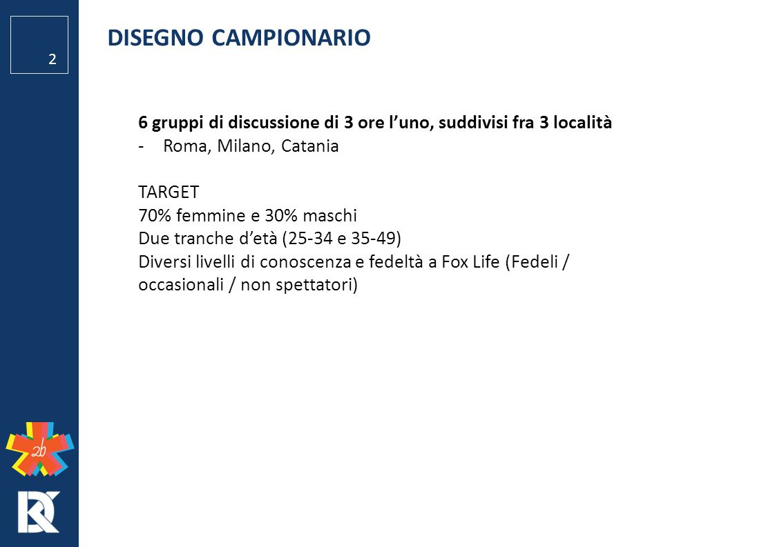 DISEGNO CAMPIONARIO 6 gruppi di discussione di 3 ore l'uno, suddivisi fra 3 località. Roma, Milano, Catania.