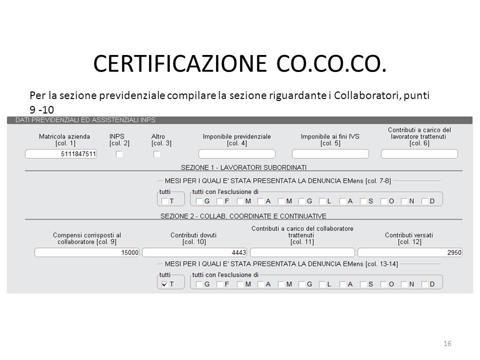 CERTIFICAZIONE CO.CO.CO.