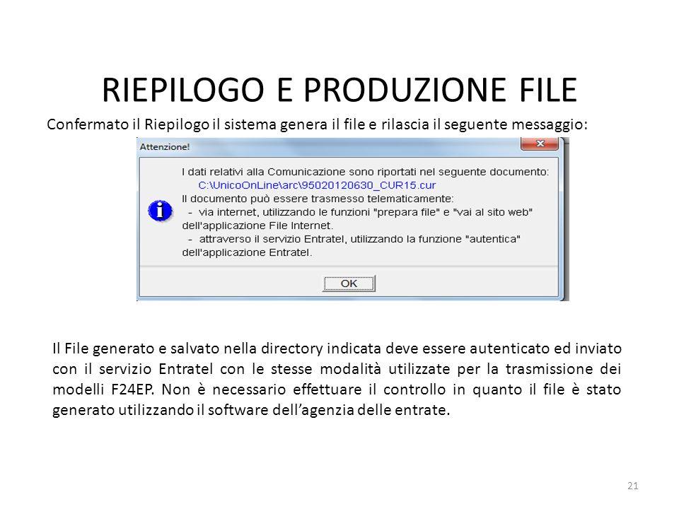 RIEPILOGO E PRODUZIONE FILE