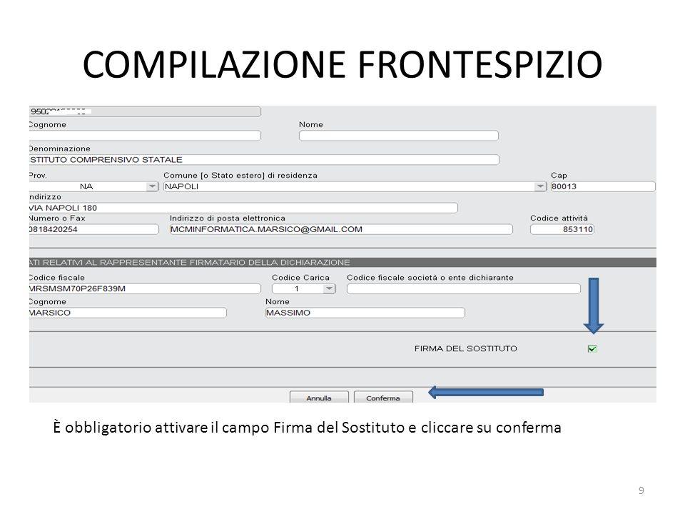 COMPILAZIONE FRONTESPIZIO