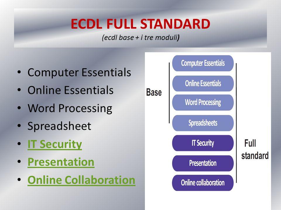 ECDL FULL STANDARD (ecdl base + i tre moduli)