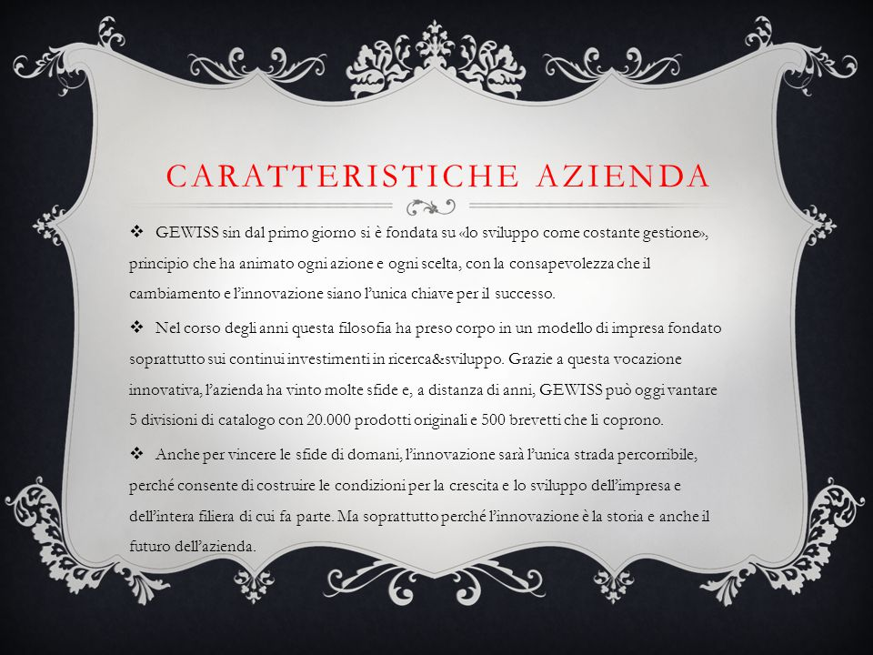 CARATTERISTICHE AZIENDA