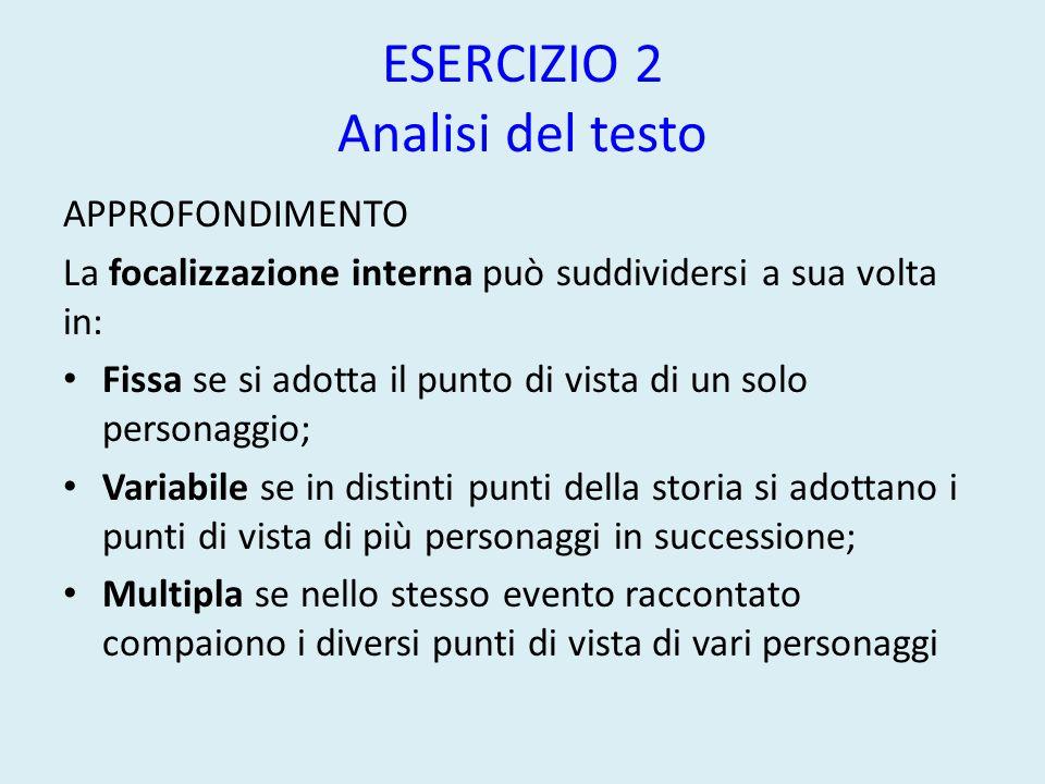 ESERCIZIO 2 Analisi del testo