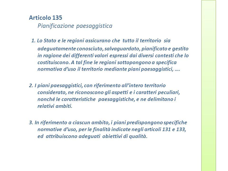 Articolo 135 Pianificazione paesaggistica